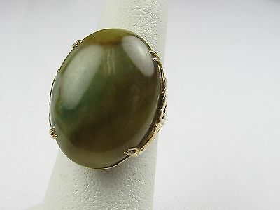 ** Ming's Of Honolulu 14K Yellow Gold Jade Ring 17X23Mm Size 6