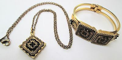 Vintage ornate French jet & gold metal Victorian design cuff bracelet + pendant