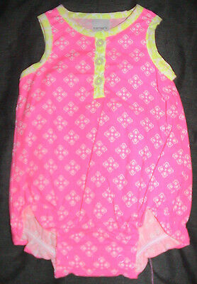 Carter's Sleeveless Romper-Pink & White With Yellow Trim-Size 6 Months-Nwt