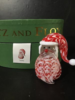 Fitz and Floyd art Glass Menagerie Santa Original Red Oval Box Holiday christmas