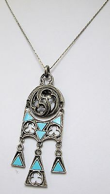 Large vintage silver metal & turquoise paste Celtic pendant + chain