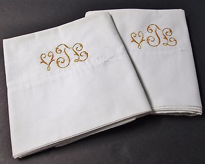 Antique Linen Pillow Case Pair Snowy White V T L Monogram in Gold