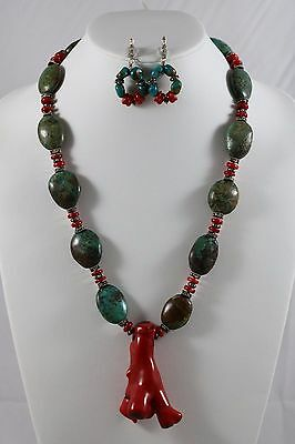 925 Sterling Silver Turquoise Necklace Faux Red Coral Pendant Earrings Set