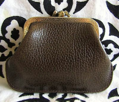 Vintage Brown Genuine Calf Leather Kiss Lock Coin Purse Wallet
