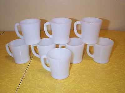 Vintage Set Of 8 Fire King Oven Ware White D Handle Restaurant Mugs Excellent !