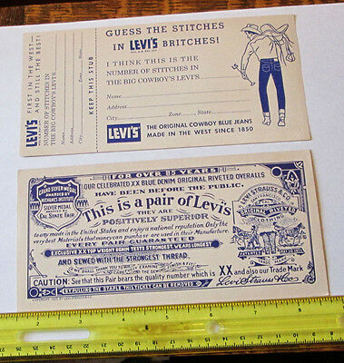 2 Old 1927 antique LEVI STRAUSS COWBOY BLUE JEANS ADVERTISING PAPERS w/CONTEST