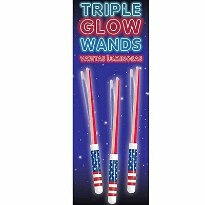 4th of July Patriotic Triple Glow Stick Wands #392802