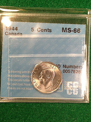 1944 Canada 5 Cents Nickel Ms66 Cccs