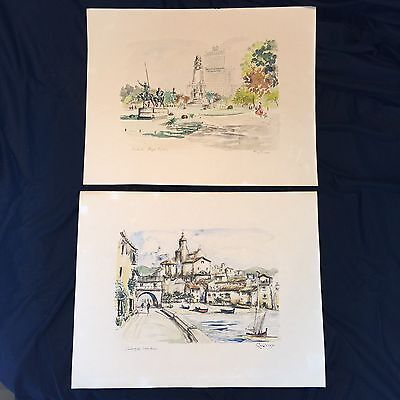 Vintage Hand Tinted Lithographs Set Of 2 Spain Cadaques Plaza Espana by Guillery