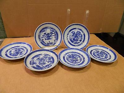 6 See Through Porcelain Hand Painted Plates Asian Blue/White Antique