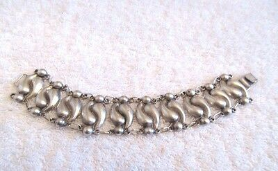 Rare 1920's Mexican Hand Crafted Repousse Sterling Silver Bracelet / Signed