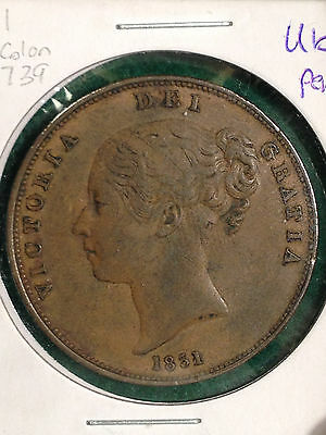 1851 Penny Great Britain Far Colon KM#739 Nice Details
