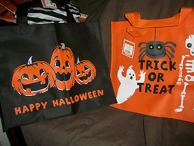 LOT OF 2 Halloween TRICK TREAT BAGS , GREAT FOR A SMALL GROCERY TRIP