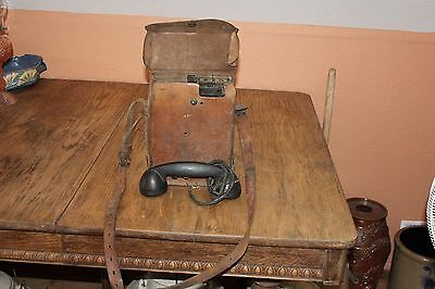 Ww11 Signal Corps Us Army Field Telephone Ee-8-A Military Leather