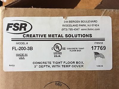 FSR FL-200-3B Floor Box and FL-200-BLP-C Brass Cover