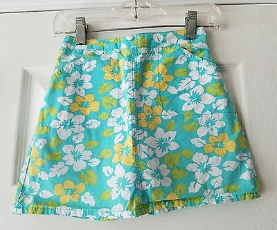 Hartstrings size 6X skort girls turquoise floral print shorts underneath cotton