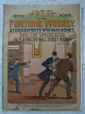 """""""Antique Comic Book Wall Street Stock Brokers """"FAME & Fortune Weekly 1912"""" 352 G"""