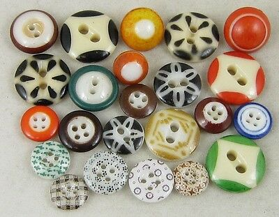 Antique Vintage China Buttons~ Calicos, Stencils, Ringers~ Mixed Colors & Sizes