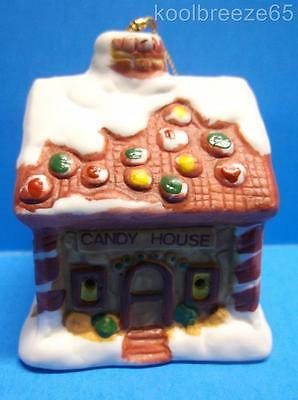 Vintage Porcelain Bisque Gingerbread Candy House Christmas Ornament Bell JSNY