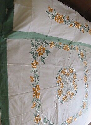 Antique Vintage Bedspread Coverlet Applique Quilt Top Sham Layover Cotton 4 pc