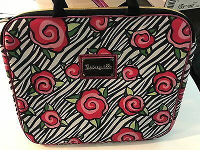 New Betsey Johnson Laptop Case Bag Purse Carrier Pink Roses EUC