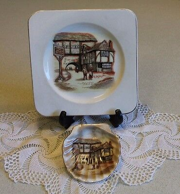 "Vintage Lancaster & Sandland Hanley England ""The Jolly Drover""  Plate & Pin Dish"