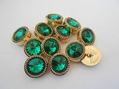 Gem03 * 12 Green & Gold Resin Shank Buttons New & Unused 22Mm