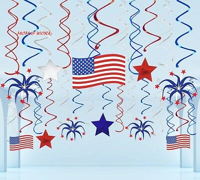 29 Ct Fourth of July Hanging Swirl Decorations 4th American Patriotic Flag...