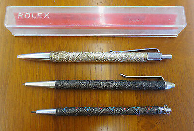 Vintage Merkur Rolex Silverolex Tribes of Israel Sterling Silver Pen Lot of 3