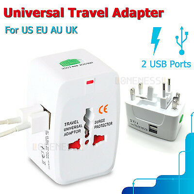 2Pcs World Universal Travel Adapter with USB Convertor wall Plug Power US AU E