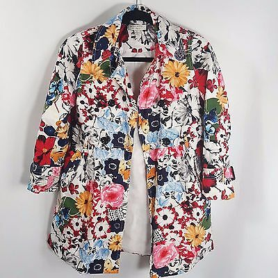 Richie House Floral Dress Girls Jacket Button Pocket Kids Trench Coat Size 9/10