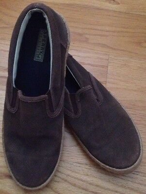 Sperry Top-Sider Men's Brown Leather Slip On Espadrille Shoes, 12 M