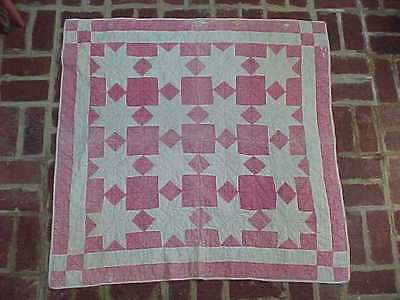 Crib Child's Antique Double-Pink Quilt Hand Pieced Hand Quilted c 1890 Stars