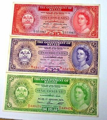 Lot 3 Notes Belize 1976 one Dollar 2 Dollar And 5 Dollar Nice Circulated Notes