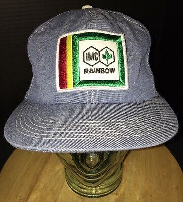 Vintage IMC RAINBOW Denim Blue Hat Cap Snapback Agriculture Seed Feed Fertilizer