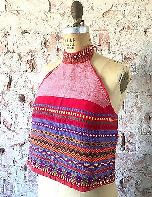 Vintage Red Woven Halter Top Embroidered 1960s 1970s Crop Hippie Boho Festival S