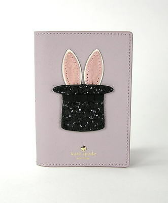 Kate Spade Make Magic Bunny Rabbit Glitter Hat Leather Passport Holder Grey NWT