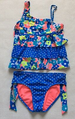 Justice Tanking Set Sz 12 Blue Neon Yellow Pink Floral Ruffled EUC E