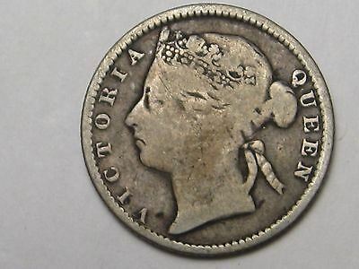 1889 Silver 10 Cents Straits Settlement (Malaysia).  #22