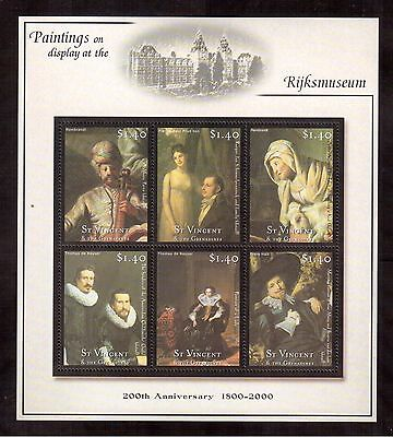 St.vincent & The Grenadines 2001 #2868 S/s Mint Nh Paintings Of Rijksmuseum !!