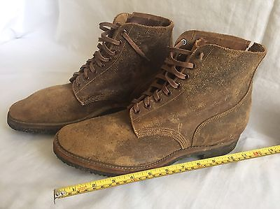 WWII Navy USMC Rough Out Leather Service Shoes Boots Boondockers • SIZE 9 1945