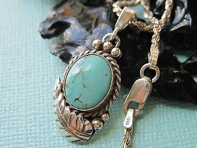 Vintage Navajo Turquoise & Sterling Silver Pendant on 925 Sterling Necklace