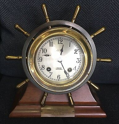 Chelsea Ship's Bell Clock with Key on Wooden Stand