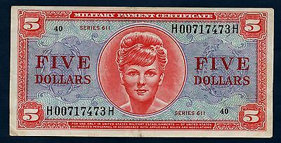 US Military Payment Certificate 611 Series 5 Dollars VF