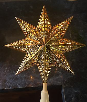 12 Light Gold Star Tree Top Topper Light Up Xmas Holiday Steady or Flashing NOS