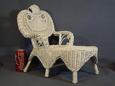 """Antique Victorian Wicker Doll Bear Chair Ornate Scrolling Vintage 16"""""""