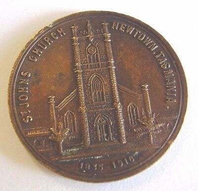 St Johns Church Newtown Tasmania Medal Medallion 1835 1916 Made From Old Bell