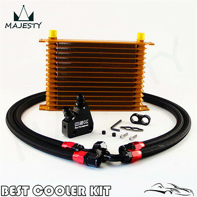 15 Row Aluminum Engine Oil Cooler Kit For GM LS1 LS2 LS3 LSX VE HSV VZ Gold
