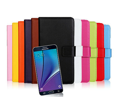 For Samsung Galaxy Note 5 New Genuine Leather Wallet Case Cover Protector Pouch