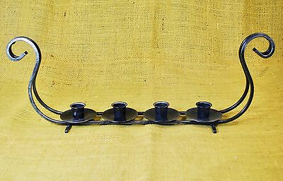 Norwegian VIKING SHIP Pewter CANDELABRA Taper Candle Holder Black Drammen Norway